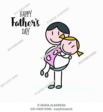 Happy fathers day hand illustration on white background
