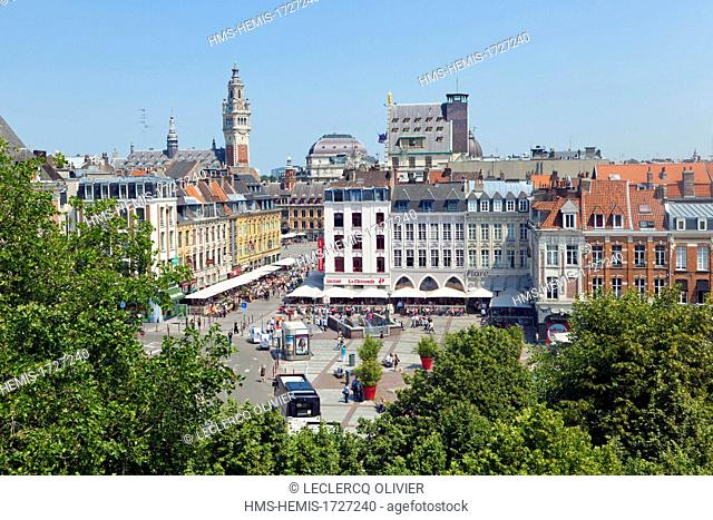 France, Nord, Lille, Place Rihour and the belfry