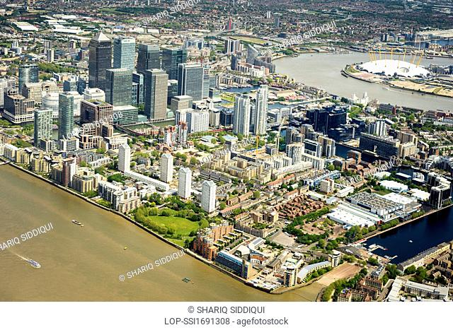 England, London, River Thames. Aerial view of the Docklands and Canary Wharf