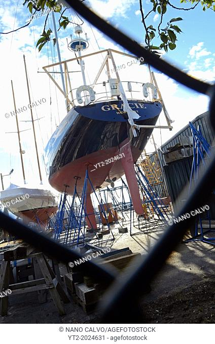 Sailing boat being repaired in Newport, Rhode Island