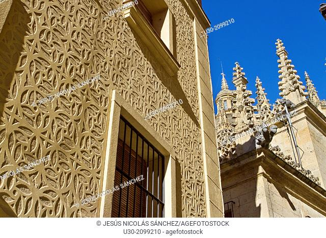 Cathedral and typical sgraffito on a house in Segovia, city declarated Historical-Artistic Site, and World Heritage by UNESCO