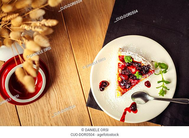 Cheesecake with blueberry and strawberry