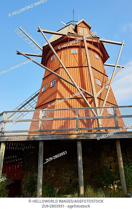 Uto windmill, Uto, Stockholm archipelago, Sweden, Scandinavia. . Built in 1791 it is a smock mill, meaning the upper roof rotates with the wind