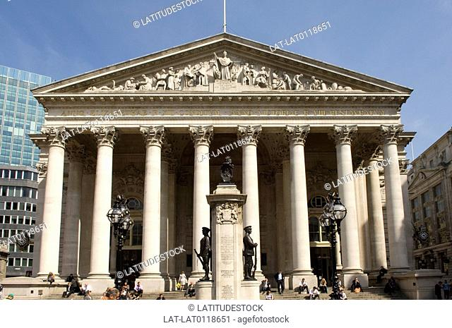 The Royal Exchange building is a large building on the corner of Cornhill and Threadneedle street on the site of the former trading centre of the City of London...