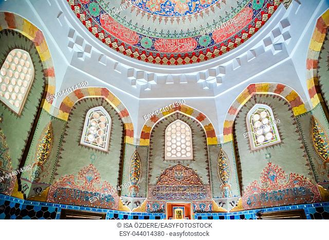 Vew of shahzada(prince) Mahmud tomb, mausoleum at Muradiye complex or Complex of Sultan Murad II in Bursa,Turkey. 20 May 2018