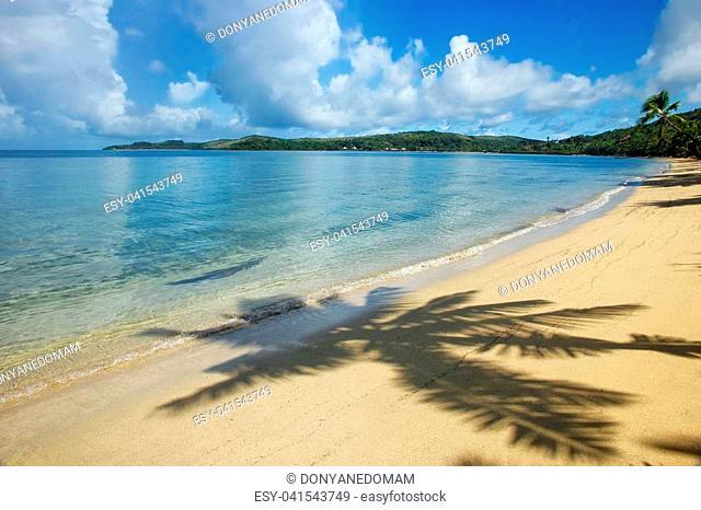 Sandy beach with a shadow of a palm tree, Nananu-i-Ra island, Fiji. Tourism is the main industry of Nananu-I-Ra