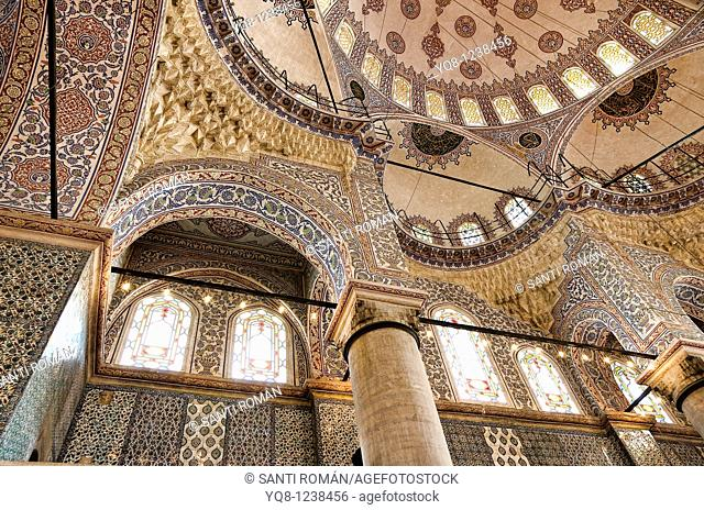 interior domes, Blue Mosque, Istanbul, Turkey