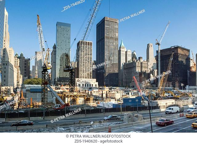 Construction site at Ground Zero, site of the former World Trade Center, WTC, Manhattan, New York City, NYC, New York, United States of America, USA
