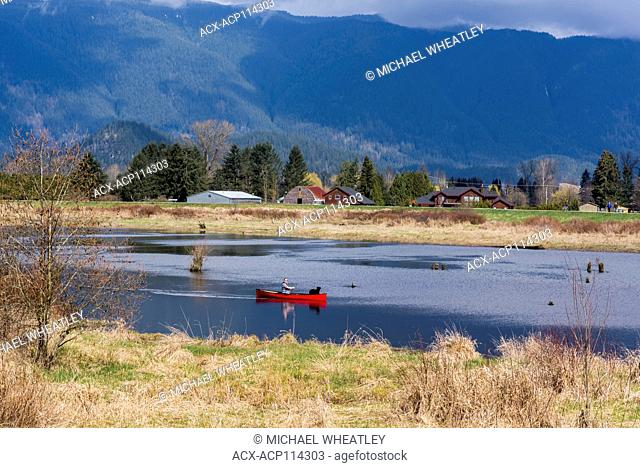 Man and dog in red canoe, Alouette River, Pitt Meadows, British Columbia, Canada