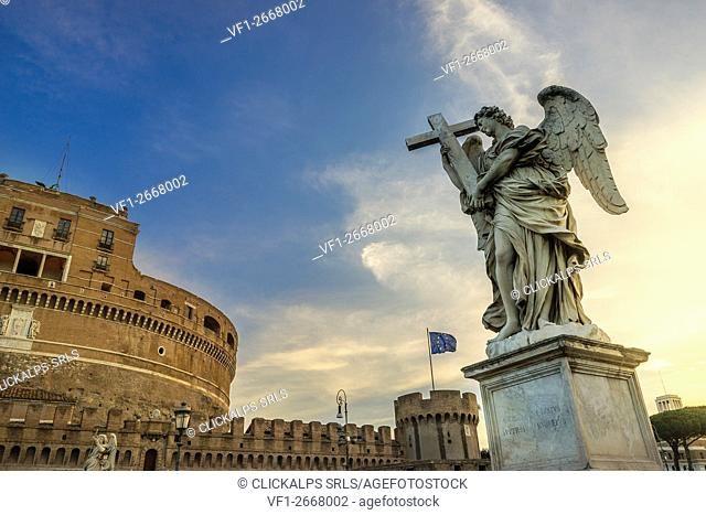 Ponte Sant'Angelo, Rome, Lazio. The statue of the Angel with the cross made by Ercole Ferrata