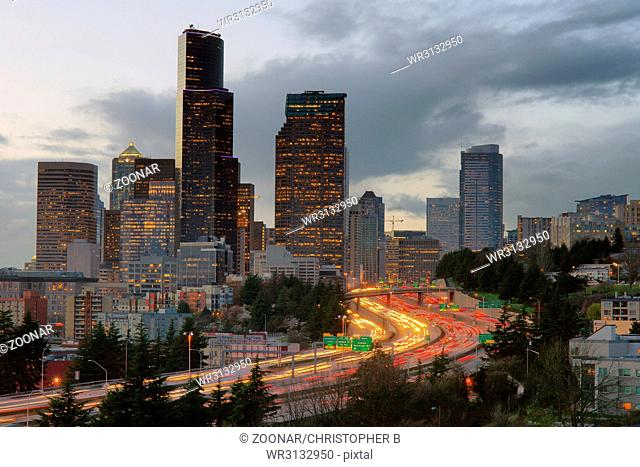 Rush Hour Seattle Interstate 5 Cuts Through Downtown City Center Skyline