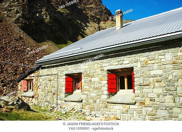 Switzerland Valais Schonbielhutte A popular swiss alpine hut in a landscape dominated by the form of the Matterhorn