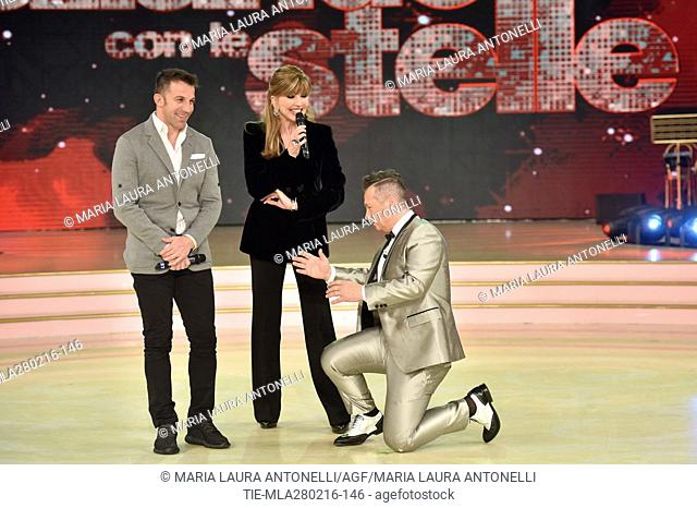 Former football player Alessandro Del Piero and Milly Carlucci during the talent show Dancing with the stars, Rome, ITALY-27/02/2016