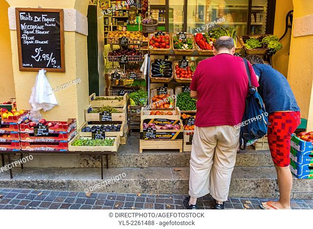 Collioure, France, Tourists Shopping at Local Grocery Store, Seaside Village near Perpignan, South of France