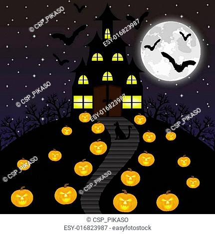 Castle witches and pumpkins