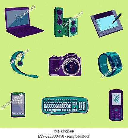 Gadget long shadow icons with notebook, phone, game pad, photo camera, tablet, pc, flash card, headphones, watches, computer, laptop, monitor