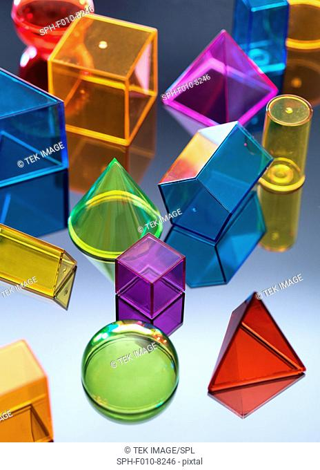 Geometric coloured shapes used in maths and calculus education