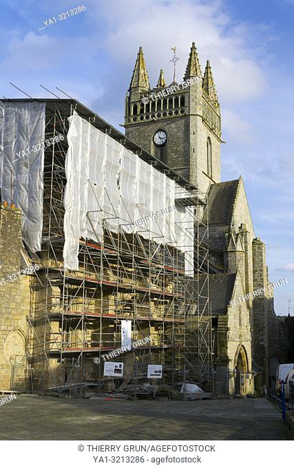 Church renovation, Place Saint Michel, Quimperle, Finistere, Bretagne, France, Europe