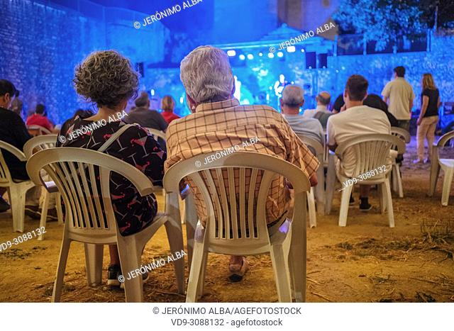 Tabletom music group, concert on summer nights. Monumental city of Ronda. Malaga province Andalusia. Southern Spain Europe