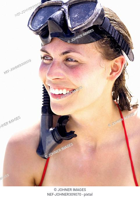 Portrait of a woman with snorkeling gear