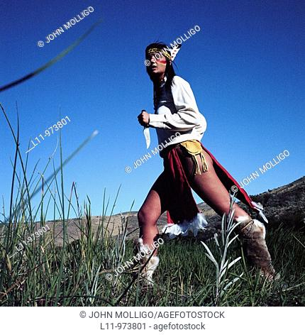 Depiction of indigenous woman, american plains; circa 1870