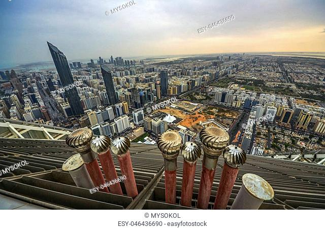 View of Abu Dhabi city, United Arab Emirates by day, view from the roof