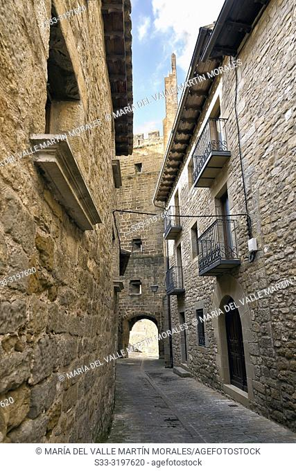 Historical medieval street with balconies in Sos del Rey Catolico. Zaragoza. Aragon. Spain. Europe