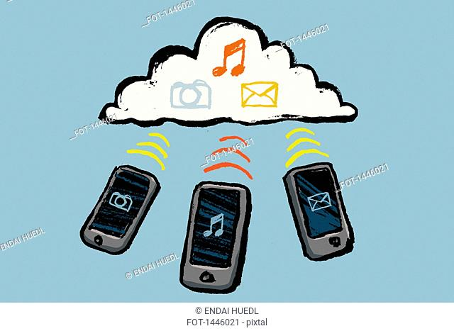 Illustration of smart phones and cloud with multimedia symbols against blue background