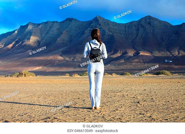 Back view of traveler woman enjoy scenic mountains