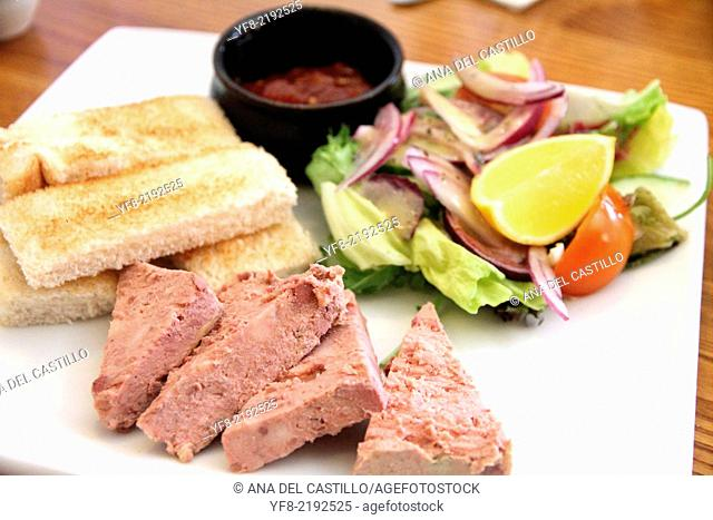 Pate campagne with toast and salad UK
