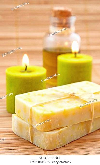 Hand-made marigaold (Calendula officinalis) soap