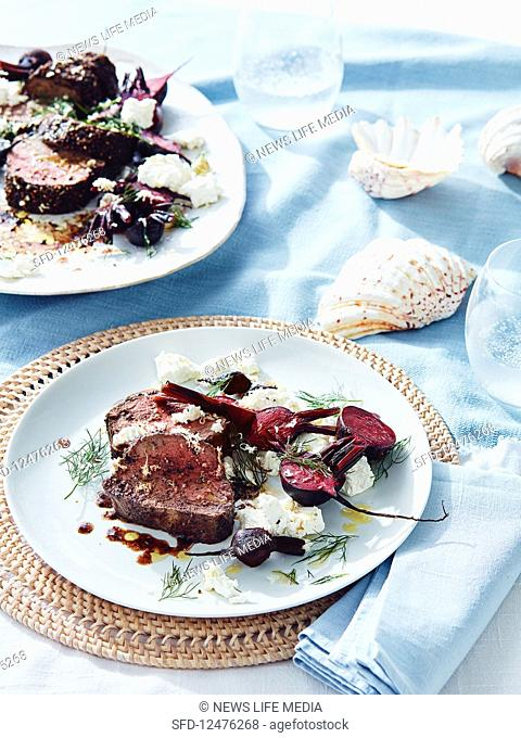 Black pepper beef with beets, horseradish and feta