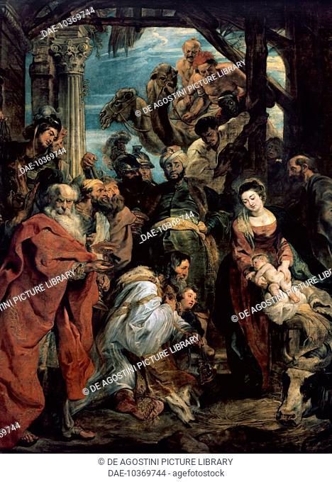 Adoration of the Magi, 1624, by Peter Paul Rubens (1577-1640), oil on canvas. Belgium, 17th century.  Antwerp, Koninklijk Museum Voor Schone Kunsten (Royal...