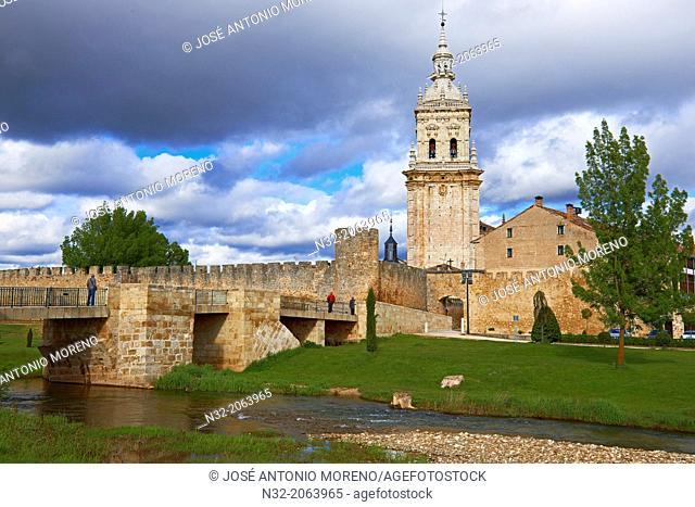 Bell tower of cathedral and city walls,  Burgo de Osma-Ciudad de Osma, Soria province, Castilla Leon, Spain