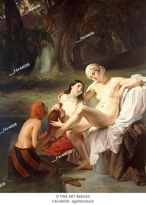 Bathsheba at Her Bath by Hayez, Francesco (1791-1882)/Oil on canvas/Romanticism/1834/Italy, Milanese school/Private Collection/180x140/Bible/Painting/Bathseba...