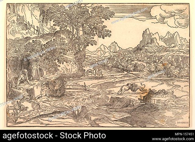 Landscape with Saint Jerome at left looking towards lion and bear (?) fighting at center; figure walking uphill at upper left; two figures with mule in the...
