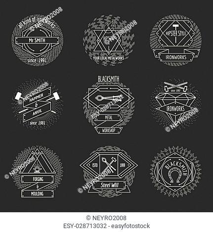 Blacksmith and forging logo or emblem vintage craft hipster vector set. Hammer and anvil, equipment and workshop illustration