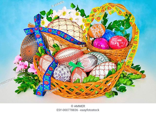 Easter decorations on blue background