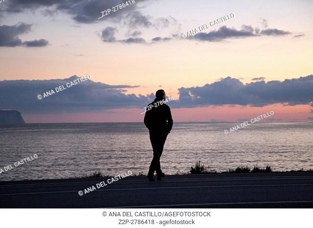 Majorca coast between Pollenca and Alcudia, North of Majorca Balearic islands Spain Sunrise seascape