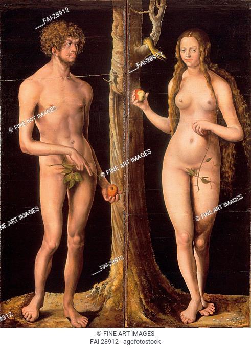 Adam and Eve by Cranach, Lucas, the Elder (1472-1553)/Tempera and oil on wood/Renaissance/c. 1510/Germany/Musée des Beaux-Arts et d'Archéologie, Besançon/139x53