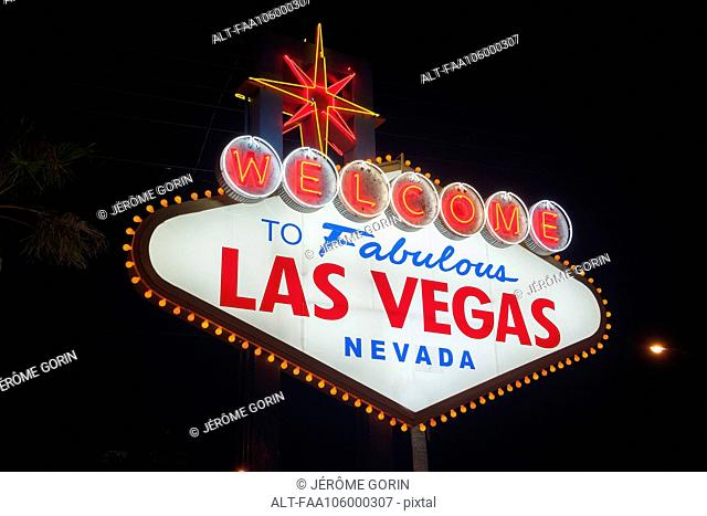 Illuminated welcome sign, Las Vegas, Nevada, USA