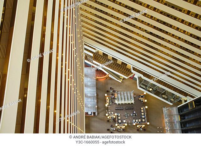 Hotel Lobby Seen From High Level Floor
