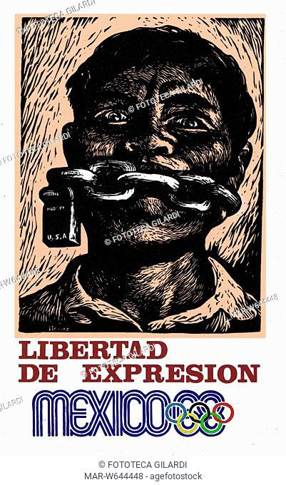 OLIMPIADI 'Libertad de Expresion'. A Città del Messico il 3 ottobre 1968, pochi giorni prima dell'inaugurazione dei Giochi olimpici