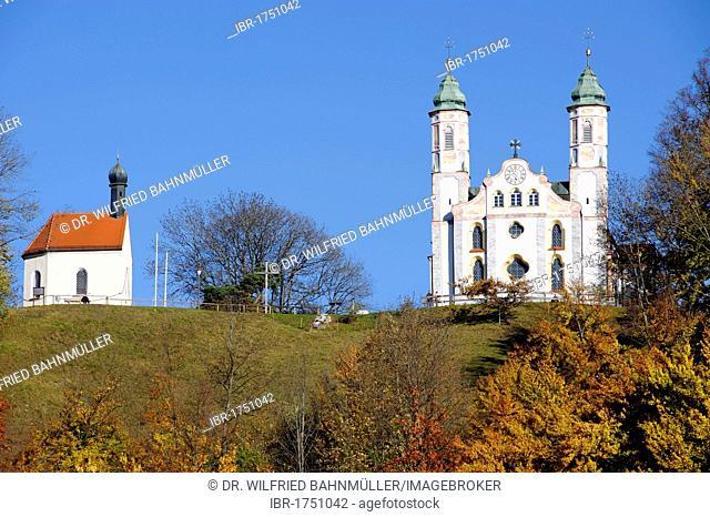 Chapel of St. Leonhard and the Church of the Holy Cross on Kalvarienberg, Calvary Hill, Bad Toelz, Upper Bavaria, Germany, Europe
