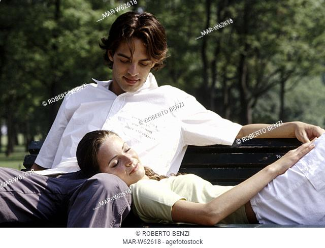 couple, lie down on the grass