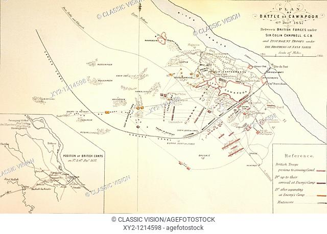 Plan of the Battle of Cawnpore, India,1857  From The Age We Live In, A History of the Nineteenth Century