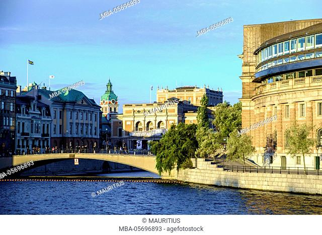 Riksdag (parliament) building and Opera at Gamla Stan district in Stockholm, Sweden