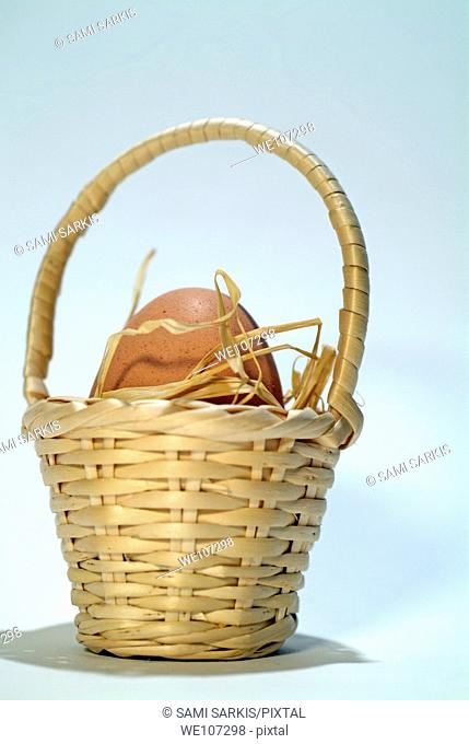 One egg in a straw basket