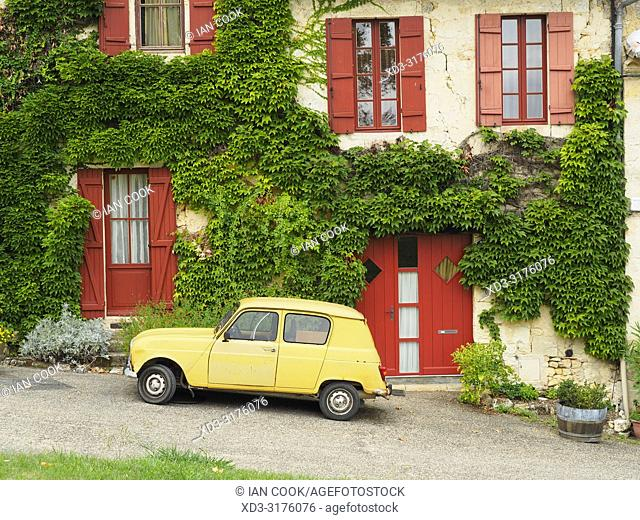 parked Renault 4, La Sauve-Majeure, Gironde Department, Nouvelle-Aquitaine, France