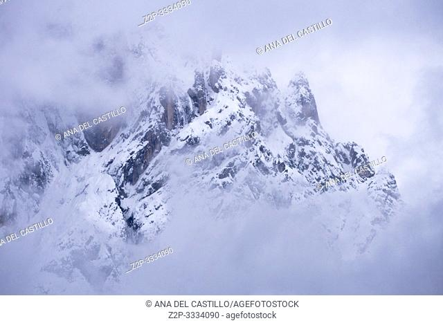 Dolomites in snow Gardena valley in Sud Tirol Bolzano province Italy
